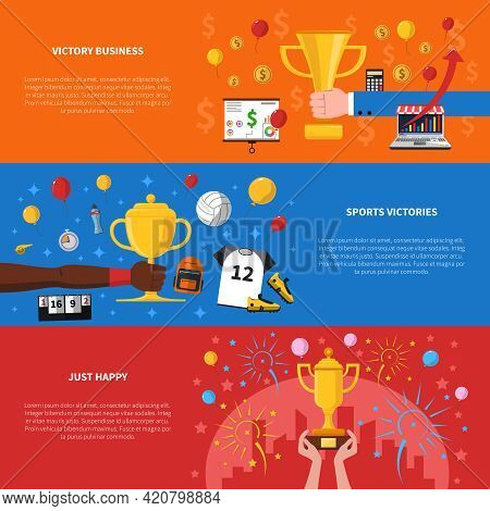 Awards Horizontal Banners Set With Victory Business And Sports Victories Symbols Flat Isolated Vecto