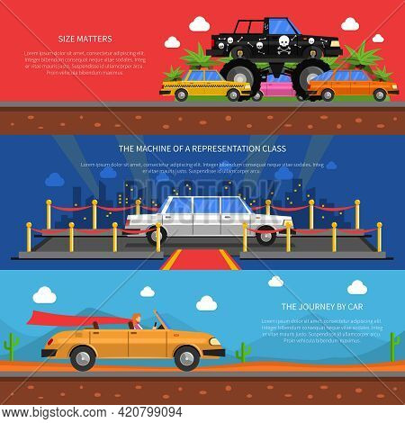 Cars Horizontal Banners Set With Representation Class Cars And Journey By Car Symbols Flat Isolated