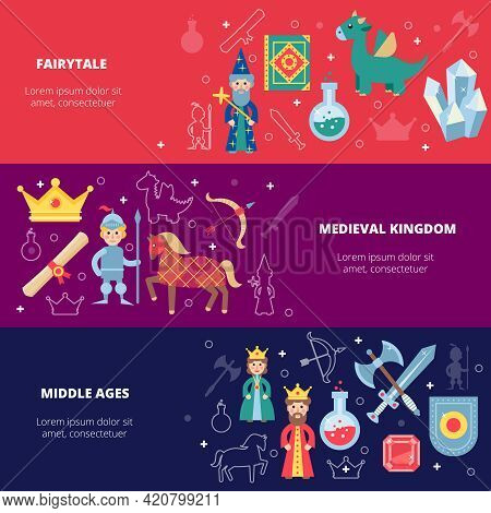 Medieval Horizontal Banner Set With Fairytale Personages Isolated Vector Illustration