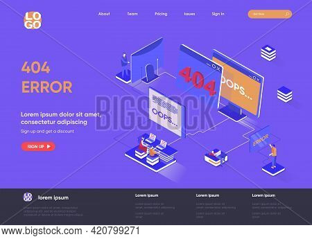 404 Error Isometric Landing Page Design. Web Page Not Found Isometry Concept. System Updates, Intern