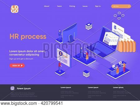 Hr Process Isometric Landing Page. Human Resource Management And Staff Headhunting Isometry Concept.