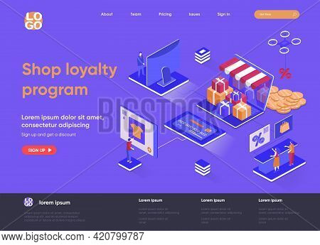 Shop Loyalty Program Isometric Landing Page. Marketing Strategy Of Attracting And Retaining Customer