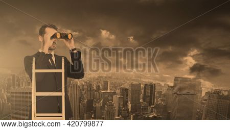 Composition of caucasian businessman looking through binoculars over cityscape. global business, finance and networking concept digitally generated image.