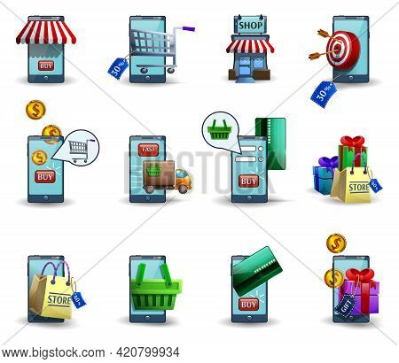 M-commerce Buying And Selling Wireless Digital Customer Mobile Commerce Services 3d Icons Set Abstra