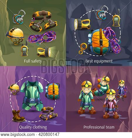 Speleologists Team Cave Surveying In Protective Clothing 4 3d Icons Square Composition Banner Abstra