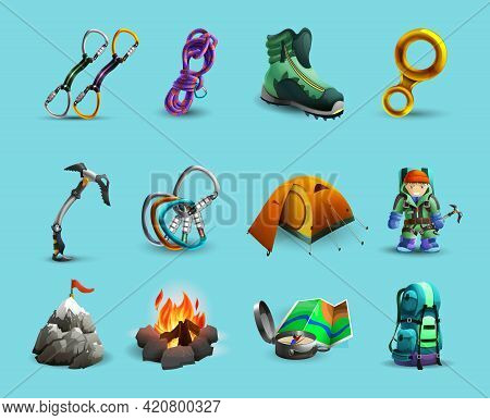 Mountain Climbing Equipment And Tools 3d Icons Set With Ice Axe And  Harness Abstract Isolated Vecto