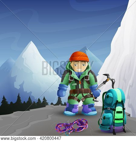 Alpine Mountain Climber Cartoon Character With Ice Axe Against Icy Rocks Peaks Background Poster Abs