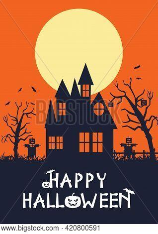 Happy Halloween Day, Full Moon In The Night, Bats Flying, Stars In The Sky, Pumpkins. Vector Illustr