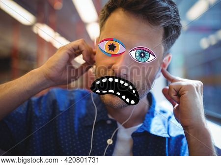 Composition of man with multi colored psychedelic eyes and black mouth. entertainment, colour and vision concept digitally generated image.