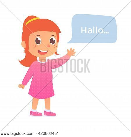 Girl Greet Say Hello, Back To School Vector , Kid Talking, Child With Speech Bubble