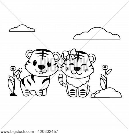 Cute Tiger Boy And Girl Outline Vector Style, Tiger Play With Friend, Tiger With Ribbon