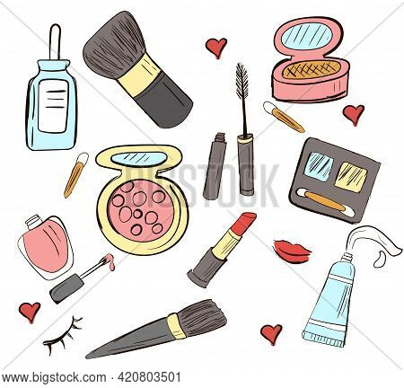 Hand-drawn Set Of Vector Cosmetics. Doodle Illustration
