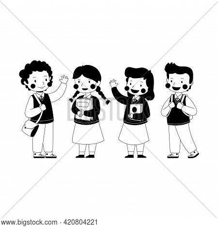 Line Art Children Illustration Back To School Collection, Children Uniform, Talking, Go To School, O