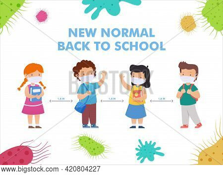 Back To School For New Normal Lifestyle Concept. Happy Group Of Kids Wearing Face Mask And Social Di