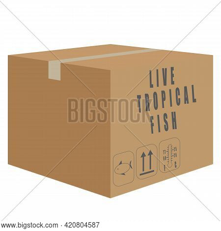 Vector Of Cardboard Of Live Tropical Fish Shipment, Import And Export Shipping Logistic Concept Illu