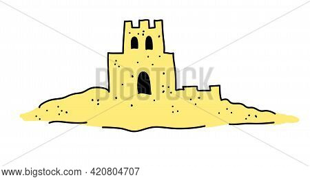 The Sand Castle Is Drawn In A Doodle Style. Vector Illustration Isolated On White Background