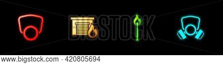 Set Gas Mask, Fire In Burning Garage, Burning Match With Fire And Icon. Vector