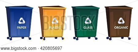 Trash Bins For Separate And Recycle Garbage. Containers For Sort Paper, Glass, Plastic And Organic W