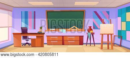 Art Classroom With Easel, Chalkboard, Paintings On Wall And Teacher Desk. Vector Cartoon Illustratio