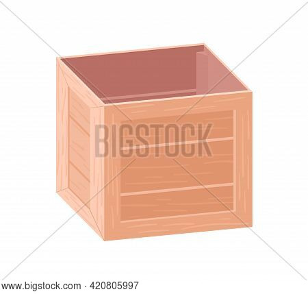 Open Wooden Box For Storage And Transportation. Empty Wood Crate For Goods And Stuff. Square Contain