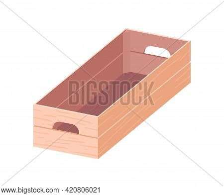 Empty Open Wooden Box With Handles. Rectangular Wood Crate. Plywood Container For Grocery Markets, F