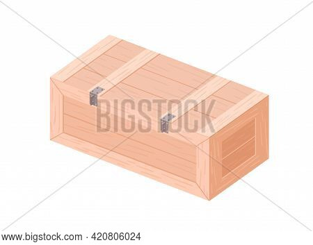 Rectangle Wooden Casket From Planks. Closed Wood Box With Lid For Goods. Container For Storage And T