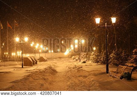 Winter Blizzard In Frosty City Park At Night