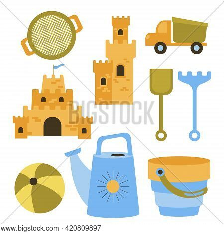 Vector Set Of Toys For Playing In The Sandbox. Sand Castles, Dump Truck, Sieve, Bouncy Balls For The