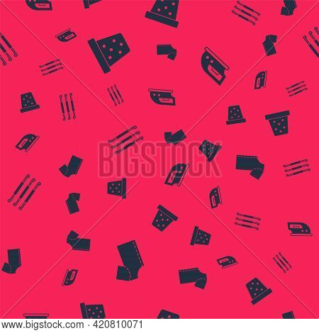 Set Sewing Pattern, Thimble For Sewing, Crochet Hook And Electric Iron On Seamless Pattern. Vector