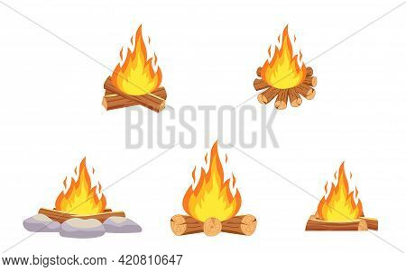 Wood Campfire. Outdoor Bonfire, Fire Burning Wooden Logs And Camping Stone Fireplace. Vector Illustr