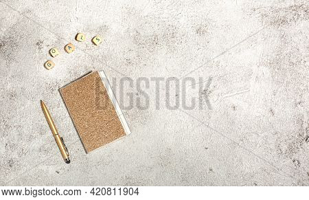 Mockup With Notebooks And Pen Isolated On Concrete Background