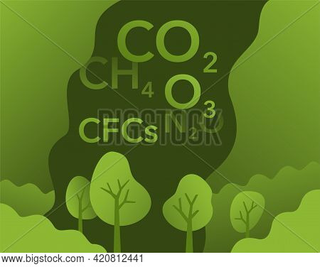 Greenhouse Gases Poster - Carbon Dioxid, Methane, Nitrous Oxide And Ozone. Vector Illustration
