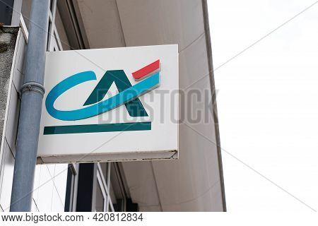 Bordeaux , Aquitaine France - 05 14 2021 : Ca Brand Text Of Credit Agricole Logo Sign Of French Mult