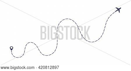 Airplane Dashed Line Path Flat Style Design Vector Illustration Isolated On White Background. The Pl