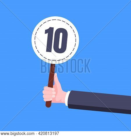 Hand Hold Round Score Card Banner Plate With Number 10 Business Concept Flat Style Design Vector Ill