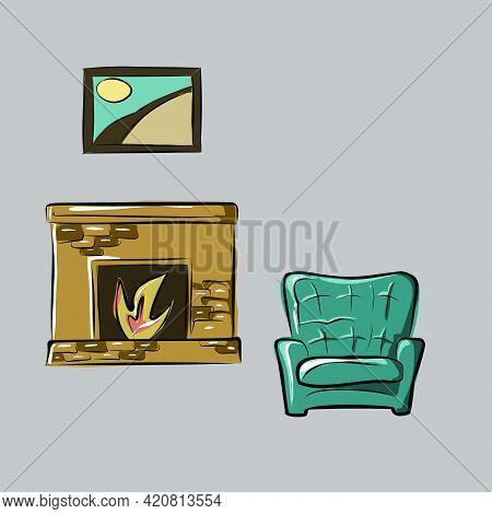 Armchair, Sofa, Fireplace, Painting On The Wall. Part Of A Set Of Furniture And Interior Accessories