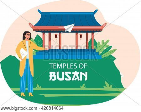 Female Tourist Stands Next To Wooden Temple Traditional Construction Of Asian Culture. Travel Compan
