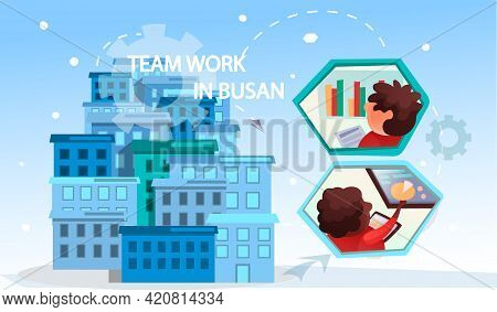 Business People Showing Joint Teamwork. Concept Banner With Team Work In Busan. Colleagues Work On P