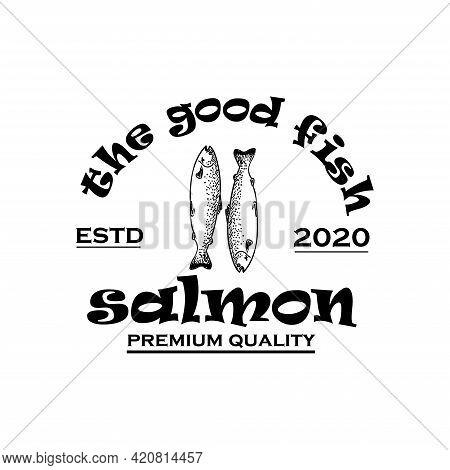 Salmon Fish Design Logo Vector. Salmon Emblem Logo Restaurant