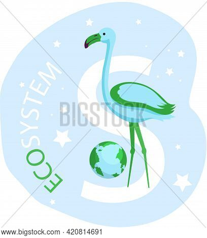 Eco Friendly, Save Environment, Nature Conservation. Flamingo Near Inscription Eco System On Abstrac