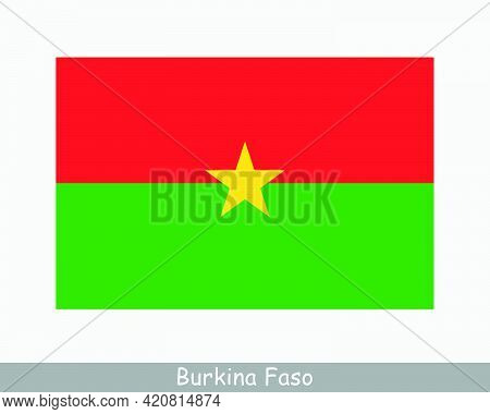 National Flag Of Burkina Faso. Burkinese Country Flag Detailed Banner. Eps Vector Illustration Cut F
