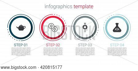 Set Chinese Tea Ceremony, Yuan Currency, Paper Lantern And Dumpling. Business Infographic Template.