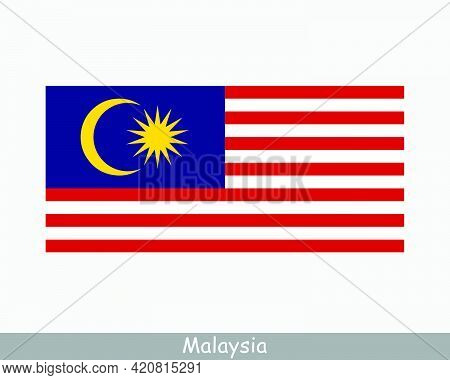 National Flag Of Malaysia. Malaysian Country Flag Detailed Banner. Eps Vector Illustration Cut File