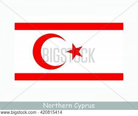 National Flag Of Northern Cyprus. Turkish Cypriot Country Flag. Turkish Republic Of Northern Cyprus