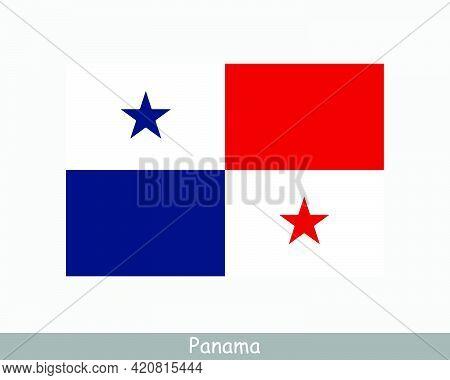 National Flag Of Panama. Panamanian Country Flag. Republic Of Panama Detailed Banner. Eps Vector Ill