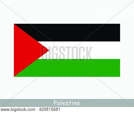 National Flag Of Palestine. Palestinian Country Flag. State Of Palestine Detailed Banner. Eps Vector