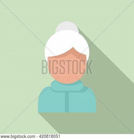 Retirement Grandma Icon. Flat Illustration Of Retirement Grandma Vector Icon For Web Design
