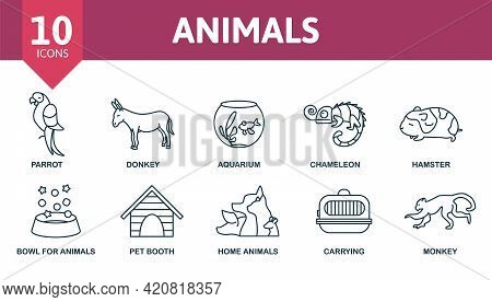 Animals Icon Set. Contains Editable Icons Domectic Animals Theme Such As Donkey, Parrot, Chameleon A