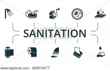 Sanitation Icon Set. Contains Editable Icons Hygiene Theme Such As Shower, Washing Hands, Purity And