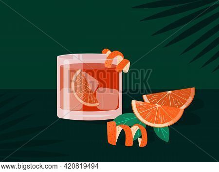 Negroni Cocktail In Old Fashioned Glass With Ice. Aperol Campari Alcoholic Beverage With Citrus Peel
